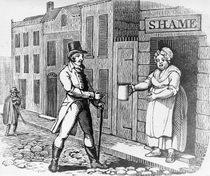 """Alrededor de 1810: una mujer le ofrece una jarra de cerveza a un hombre en la calle de su """"casa de la vergüenza"""", en un grabado en madera alegórico."""